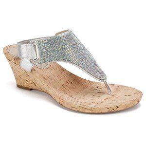 New Women's Silver Metallic Glitter Wedge Sandal